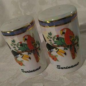 Vintage Lusterware Parrot/ Toucan Salt and Pepper